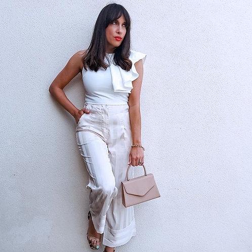 White zip back asymmetric ruffle sleeve top