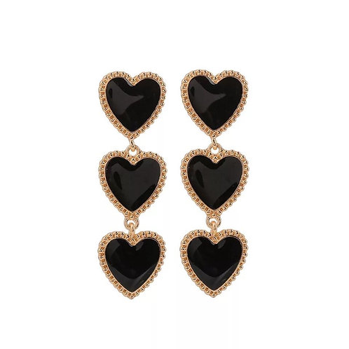 Black heart and gold drop earrings