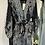 Thumbnail: Black paisley printed tie waist dress