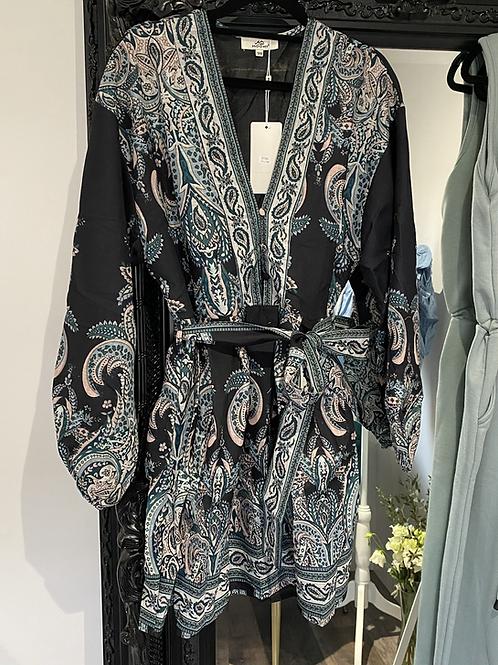 Black paisley printed tie waist dress