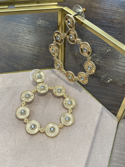 Gold and diamonte circle drop earrings