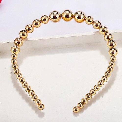 Beaded gold headband