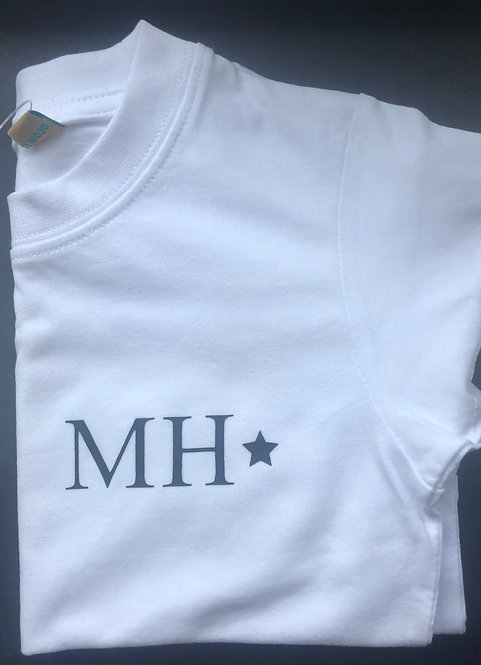Kids white personalised t-shirt - 6months - 14years