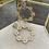 Thumbnail: Gold and diamonte circle drop earrings