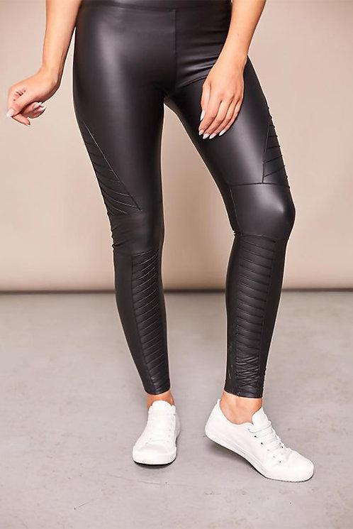 Leather look biker leggings