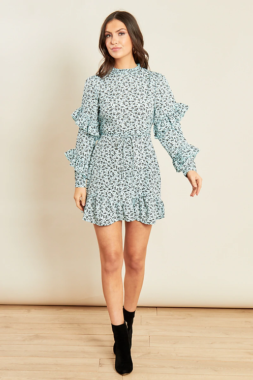 Blue ditsy print high neck ruffle dress