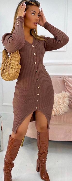 Tan long sleeve button down fine knit dress
