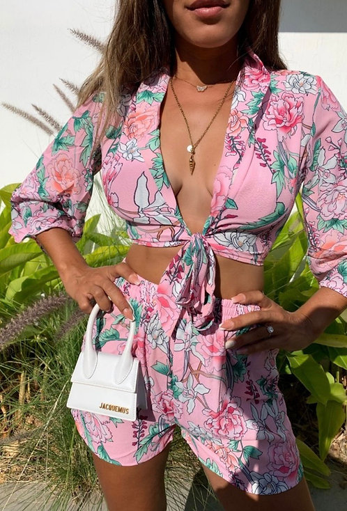 Pink floral kimono sleeve crop top & shorts
