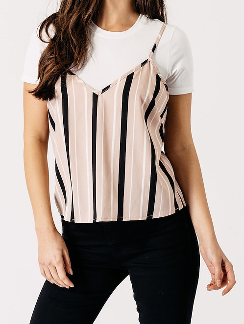 Pink stripe vest and tee