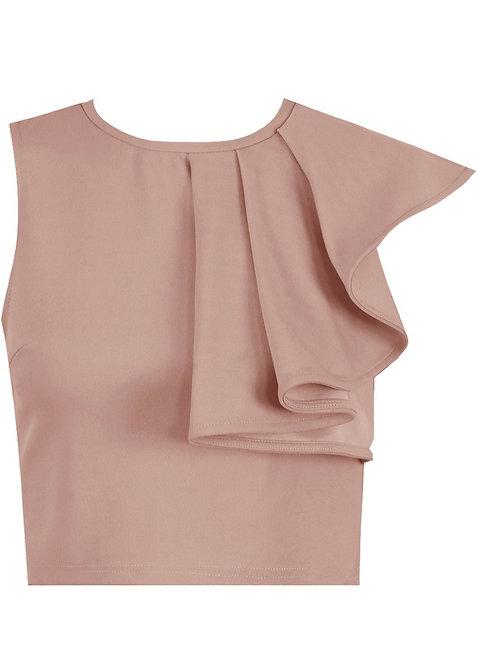 Rose asymmetric ruffle top with zip detail