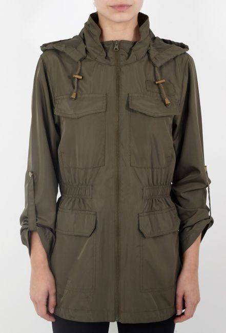 Brave Soul khaki hooded showerproof mac