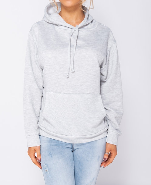 Supersoft and lightweight grey hooded jumper