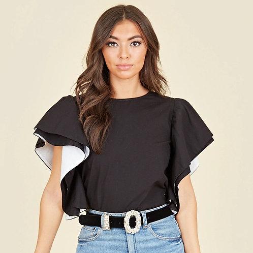 Influence black/ white ruffle sleeve top