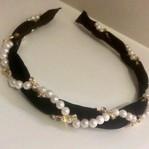Black pearl and diamante headband