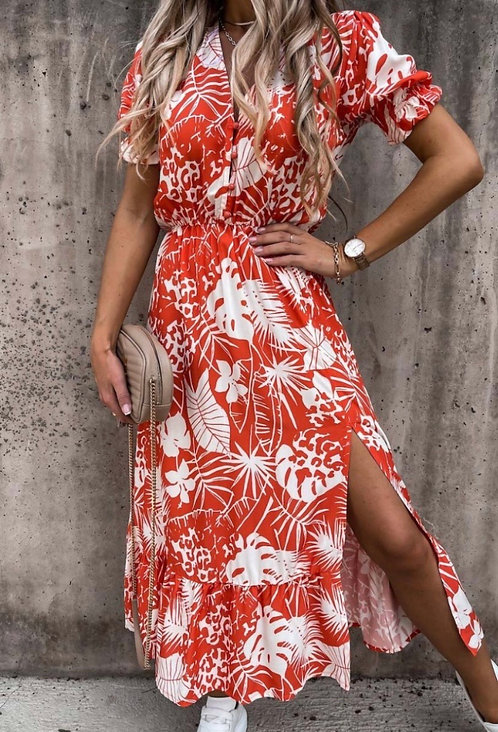 Red and white floral print midaxi dress