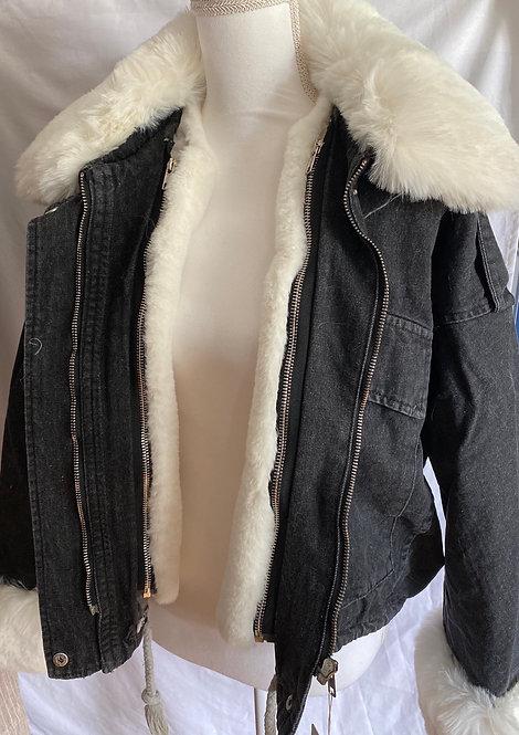 Black oversized denim jacket with white fur trim