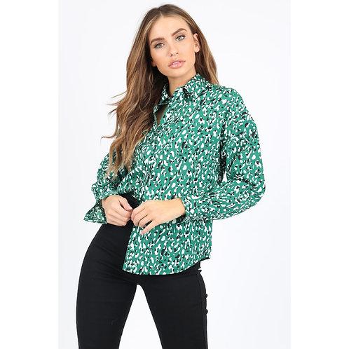Influence green animal print shirt