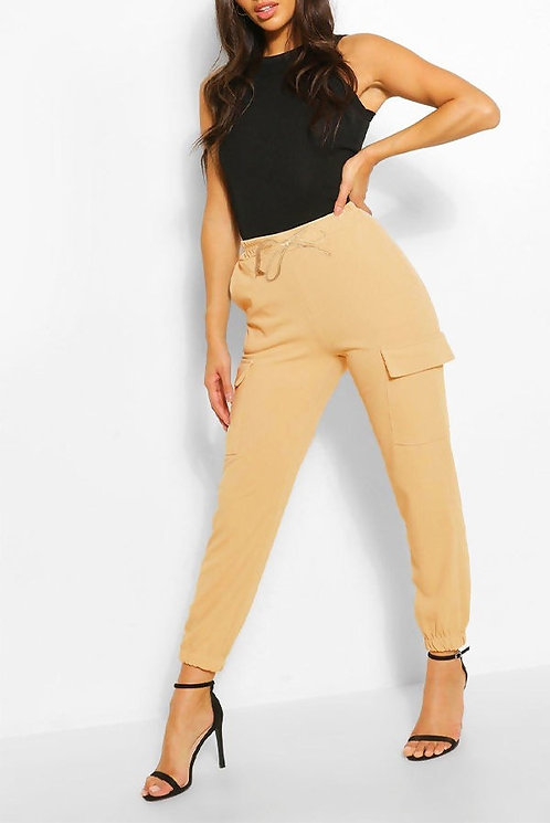 Beige cargo style mom joggers