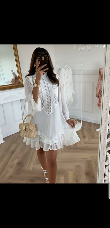 White crochet detail and sheer sleeve dress