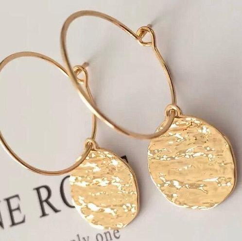 Gold drop disc earrings