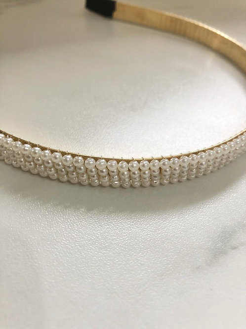 Gold beaded small pearl headband