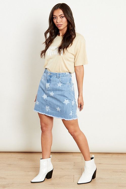 Denim skirt with star print