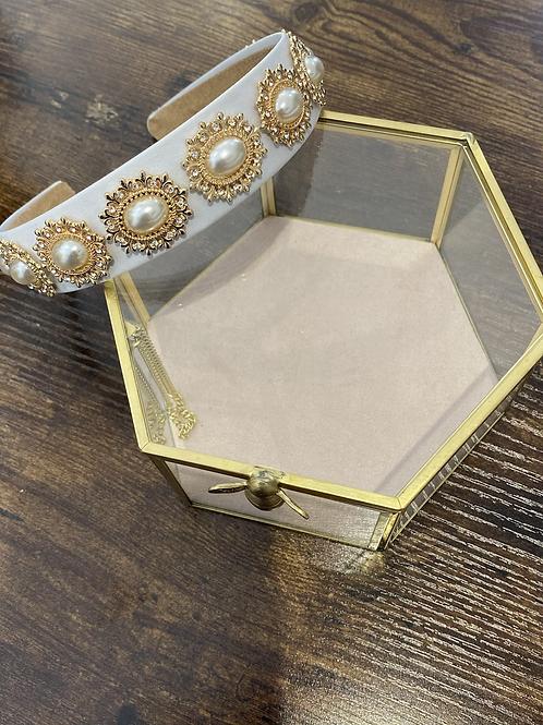 Ivory satin and statement jewel headband