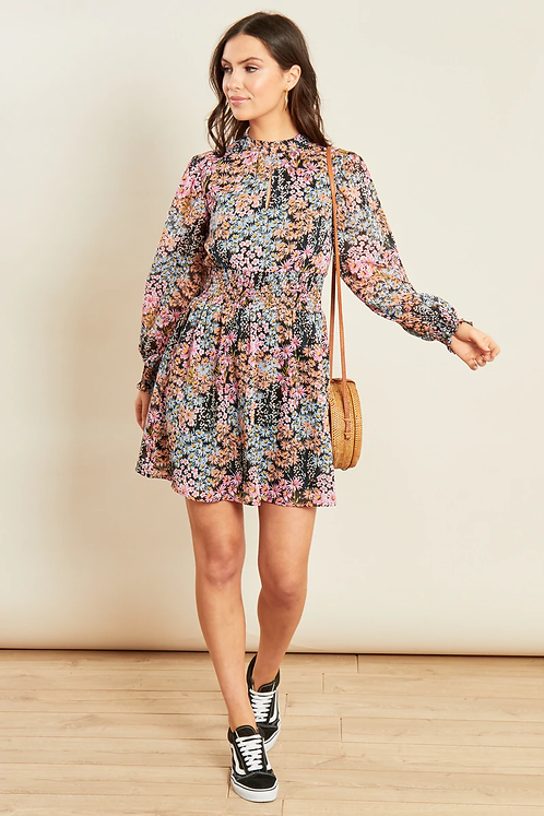 Pink black ditsy print high neck dress