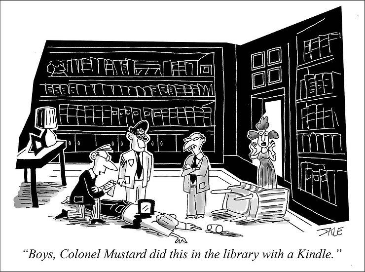 Col. Mustard with a Kindle.