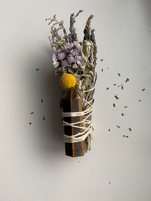 Sage Bundle with Tiger Eye Tower (Protection)
