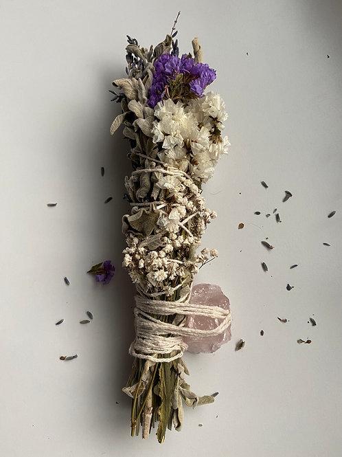 Stick Sage Wand with Raw Rose Quartz