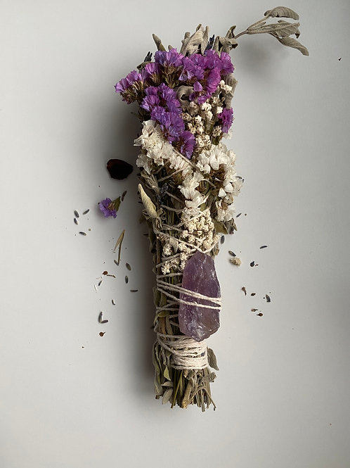 Stick Sage Wands with Raw Amethyst
