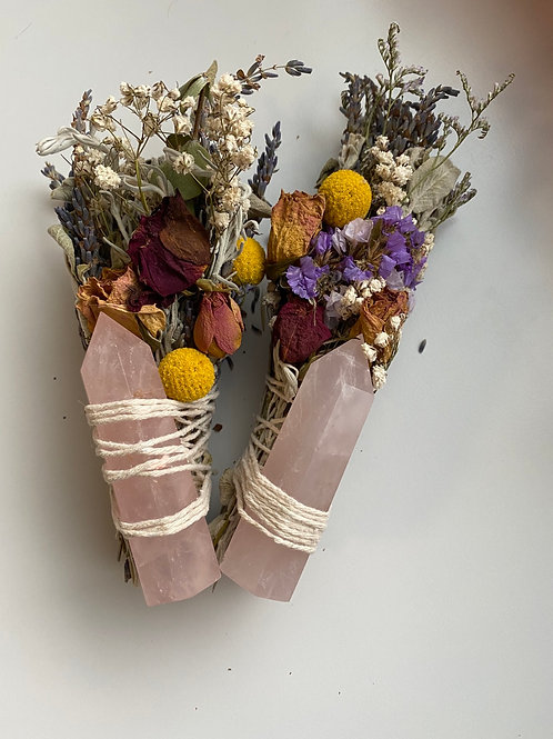 Sage Bundle with Rose Quartz Tower