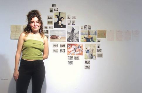 Pilar Scotto y sus piezas realizados durante el año 2018 expuestas en la muestra del taller Serendipia en Marzo 2019