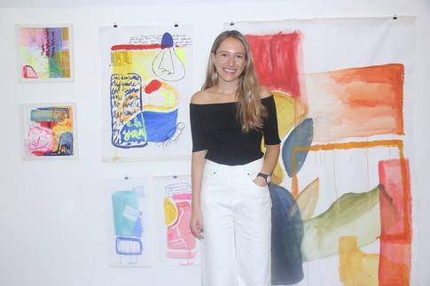 Lucia Rios Belagamba y una selección de su obra expuesta en Serendipia 2018 realizada durante el año 2017