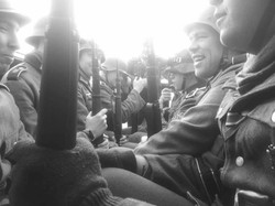 The Squad in the back of the Halftrack - Cosy! Pickering