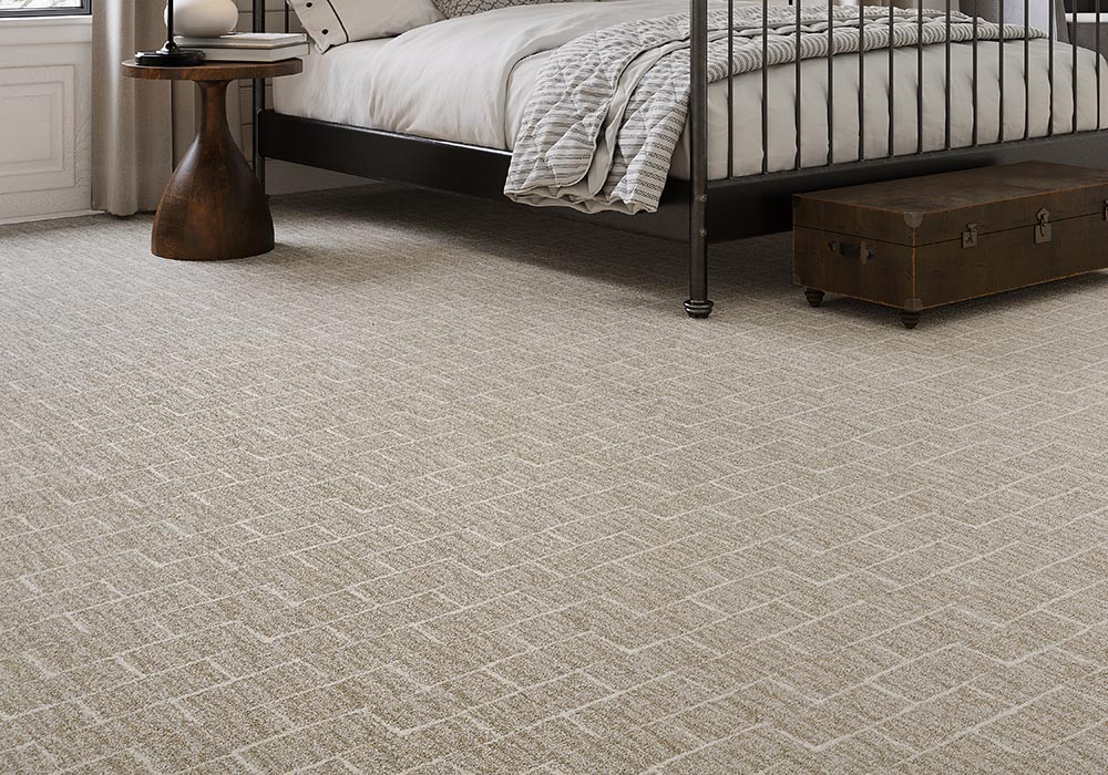 Newfound Pride Microban carpet with geometric patterns in a bedroom
