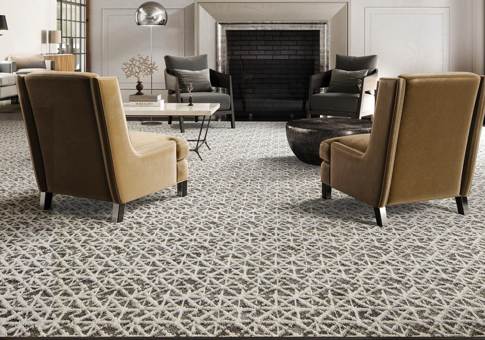 Mesmerizing textured patterned Microban carpet in a living room