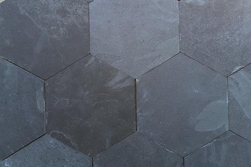 "Cinzeto Black Slate 6"" Hexagon"