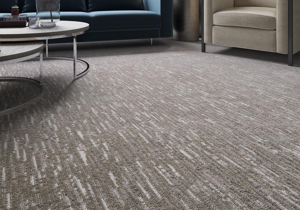 Effervescent artisan Microban carpet in a living room