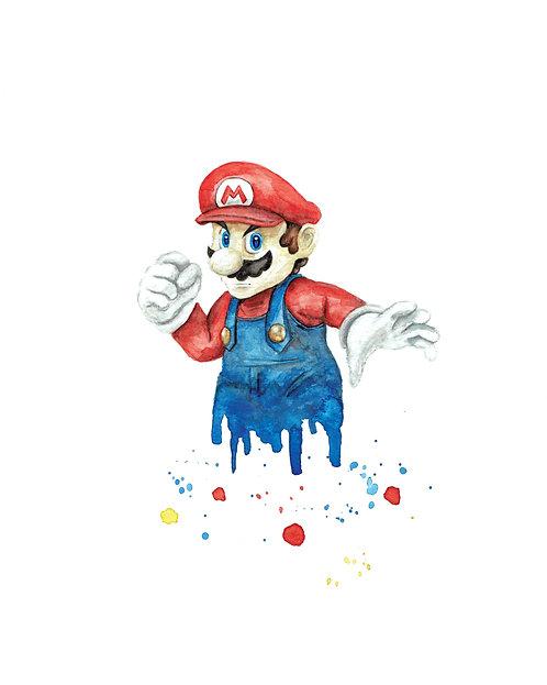 Mario Watercolor Art Print       Nintendo
