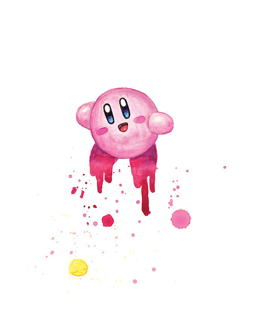 Kirby Watercolor Art Print   |   Nintendo