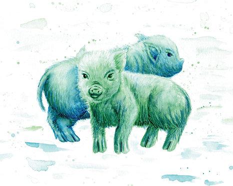 Pigs Watercolor Art Print   |   Animals