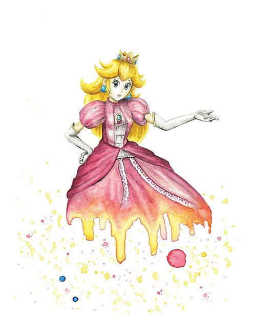 Peach Watercolor Art Print   |   Super Mario, Nintendo