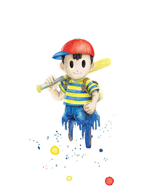 Ness Watercolor Art Print       Earthbound, Nintendo