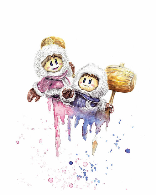 Ice Climbers Watercolor Art Print   |   Nintendo