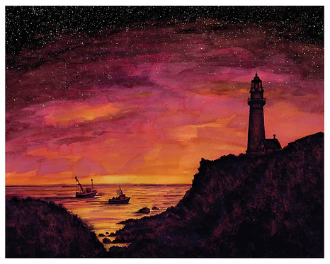 Lighthouse in Pink Watercolor Art Print   |   Landscape