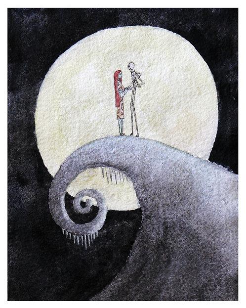Jack & Sally Watercolor Art Print       Nightmare Before Christmas