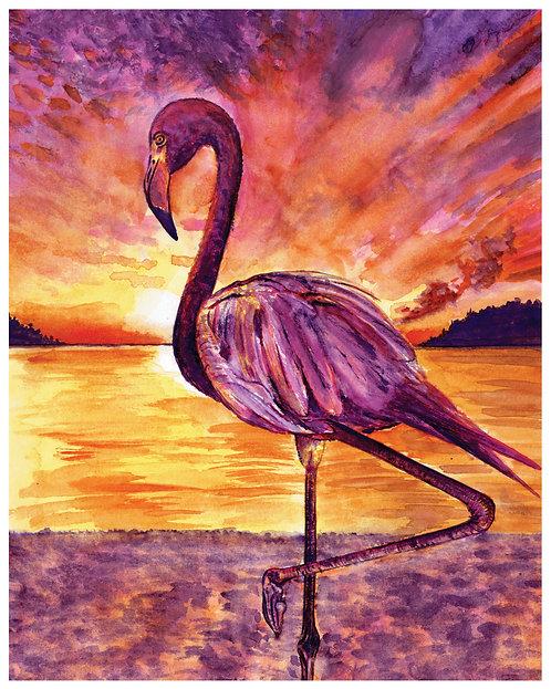 Flamingo Watercolor Art Print   |   Animals