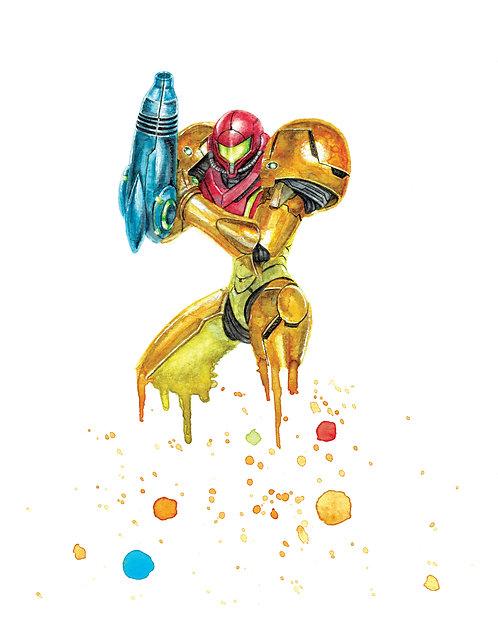 Samus Aran Watercolor Art Print       Metroid, Nintendo